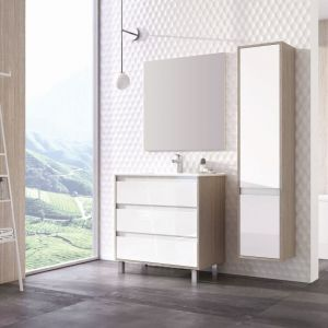 Aranżacja łazienki w stylu skandynawskim. Na zdjęciu meble z kolekcji Desi Plus marki Elita. Fot. Elita