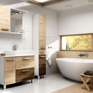 Aranżacja jasnej łazienki ocieplonej kolorami drewna. Na zdjęciu meble Nicole marki Stolkar. Fot. Stolkar