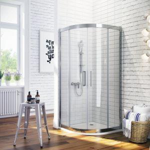 Aranżacja łazienki w stylu skandynawskim. Na zdjęciu kabina półokrągła z serii 600 firmy. Fot. Excellent