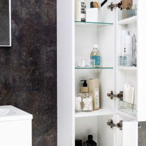 Słupki łazienkowe to świetne miejsce na przechowywanie przedmiotów, po które sięgamy często (nie musimy się schylać!). Na zdjęciu rozwiązanie marki Ravak z konceptu Ring - słupek, który ma półki również po wewnętrznej stronie drzwiczek. Fot. Ravak