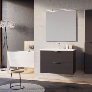 Ciemne meble łazienkowe z kolekcji Ambio marki Elita. Fot. Elita