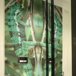 Ścianę w toalecie gościnnej zdobi zielona fototapeta z równie zielonym kameleonem wspinającym się po gałęzi. Proj. Katarzyna Mikulska-Sękalska. Fot. Bartosz Jarosz