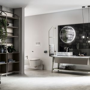 Koncepcja Open Workshop powstała przy współpracy marek Scavolini i Diesel Home czerpie pełnymi garściami z industrialnej stylistyki, sięgając po metalowe regały z otwartymi półkami. Fot. Scavolini/Diesel Home
