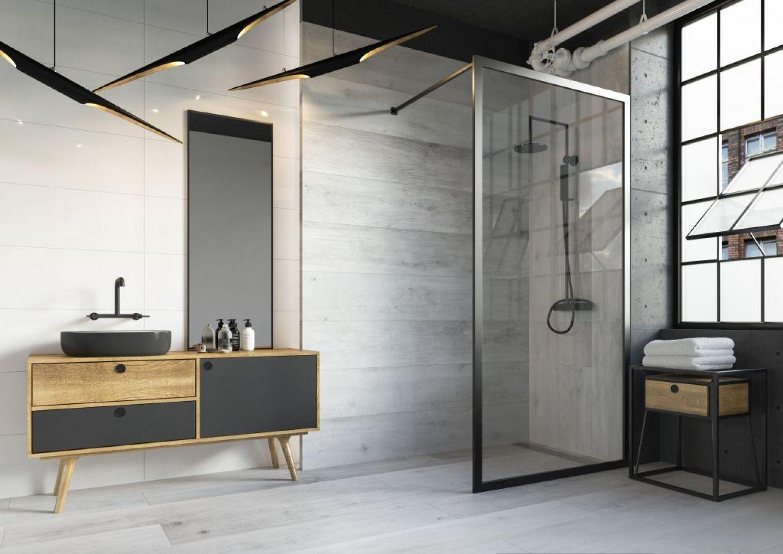 Łazienka w stylu soft loft z płytkami z kolekcji Tammi marki Ceramika Paradyż. Fot. Ceramika Paradyż