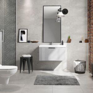 Łazienka w stylu loft z cegłą, metalowymi dodatkami i płytkami z kolekcji Normandie marki Cersanit. Fot. Cersanit