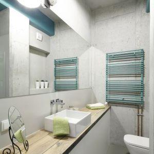 Łazienka w stylu loft z betonem na ścianie i industrialnym oświetleniem. Proj. Małgorzata Chabzda/Nowa Papiernia. Fot. Bartosz Jarosz