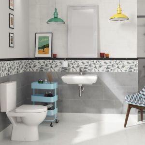 Łazienka w stylu loft z kolorowymi, industrialnymi akcentami i płytkami z kolekcji Adelle marki Cersanit. Fot. Cersanit