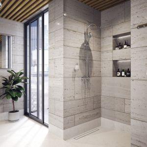 Zestaw prysznicowy z natynkową baterią Algeo i zintegrowaną deszczownią marki Ferro. Fot. Ferro