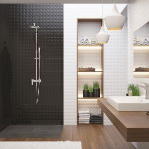 Zestaw prysznicowy Hiacynt z deszczownią, jednouchwytową baterią i rączką prysznicową marki Deante o geometrycznej formie. Fot. Deante