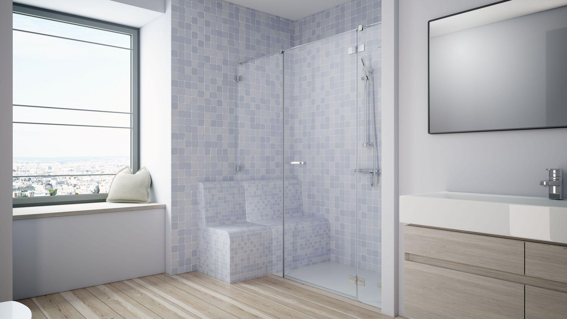 Łazienka dla seniora z bezprogową strefą prysznica i wygodnym siedziskiem oraz dopasowaną do niego kabiną prysznicową Euphoria DWJ+S. Fot. Radaway