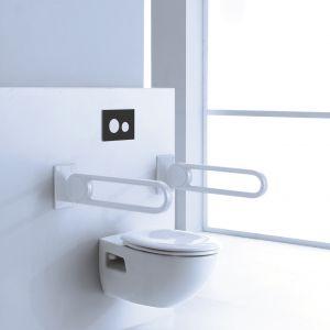 W łazience dla seniora powinny znaleźć się uchwyty ułatwiające wstanie z toalety czy utrzymanie równowagi. Fot. TECE