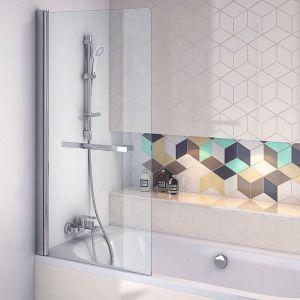 Jednoczęściowy parawan nawannowy z serii 900 marki Actima firmy Excellent, z praktycznym uchwytem na ręcznik, z hartowanego przeźroczystego szkła, wym. 730x1450 cm. Cena: 799 zł