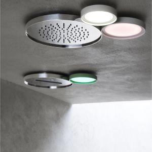 Lilia wodna była inspiracją dla projektu głowicy prysznicowej Ninfea marki Aquaelite. W skład kolekcji wchodzą elementy o różnych rozmiarach, wykończeniach i kolorach, tworzące modularny system prysznicowy; poszczególne elementy pełnią funkcją głowicy prysznicowej, lampy, a także... głośnika muzycznego. Fot. Aquaelite