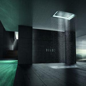 Deszczownica Aquasymphony marki Grohe ze zintegrowanym światłem LED o regulowanym kolorze i 7 różnymi strumieniami wody. Fot. Grohe