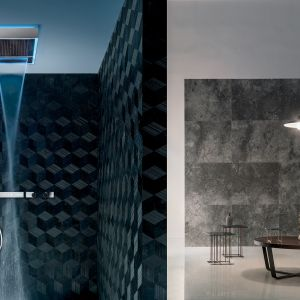 Armatura prysznicowa Aquadolce marki Fantini z programem chromoterapii, oferującym 4 różne kolory światła. Fot. Fantini