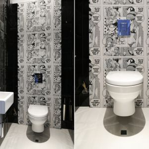 Ściana w łazience dla wielbicieli mangi - fototapeta z japońskim komiksem. Proj. Magdalena Smyk. Fot. Bartosz Jarosz
