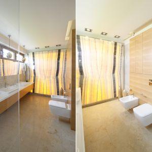 Ściana w łazience z przeźroczystego onyksu. Proj. Katarzyna Mikulska-Sękalska. Fot. Bartosz Jarosz