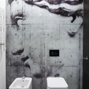 Ściana w łazience z betonowych płyt układających się w obraz. Proj. Karolina Stanek-Szadujko, Łukasz Szadujko. Fot. Bartosz Jarosz