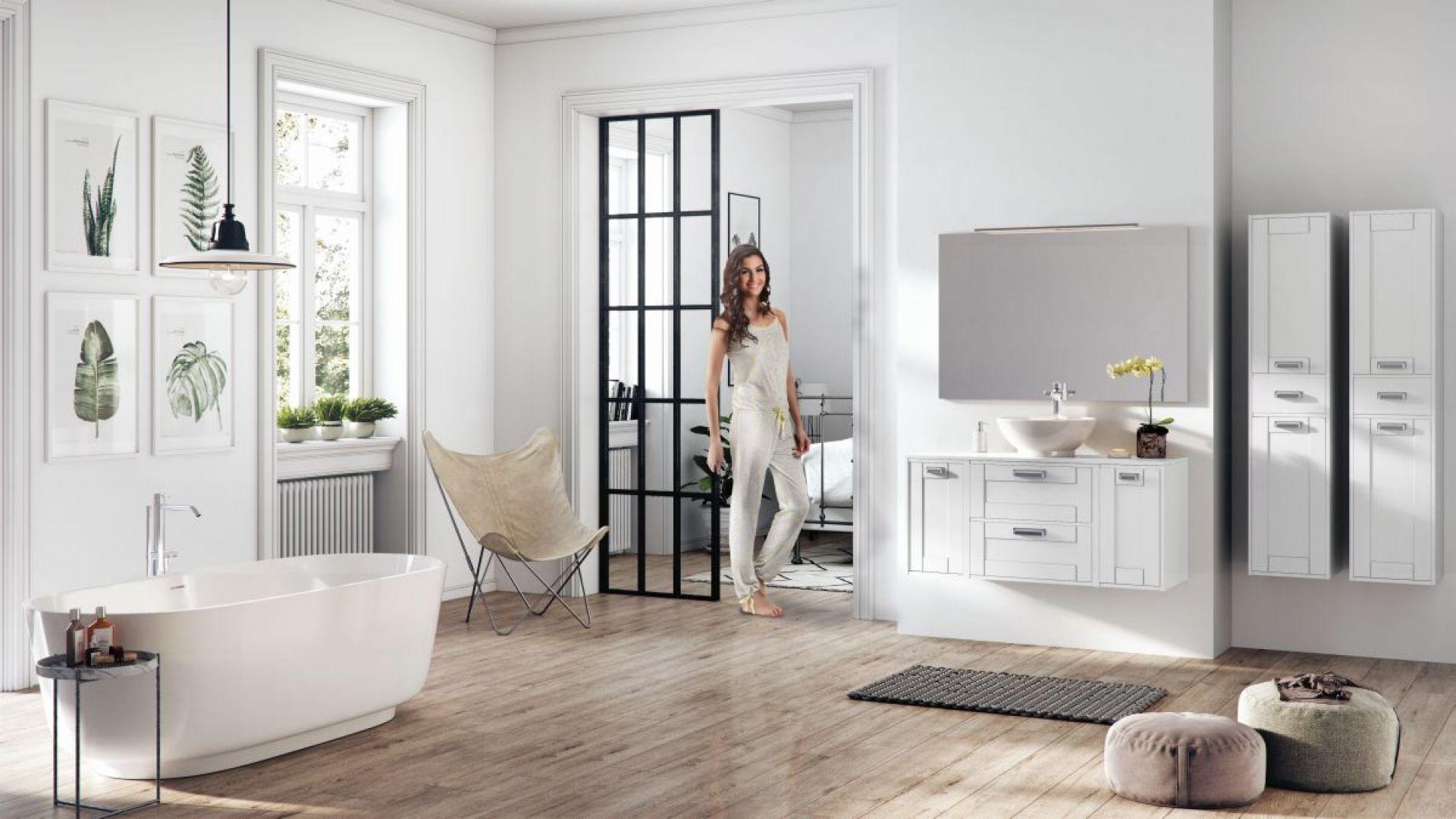 Łazienka w stylu skandynawskim. Fot. Elita, na zdjęciu meble z kolekcji Inge