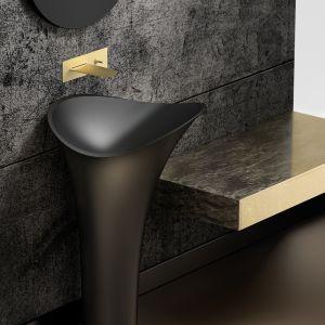Piękna satynowa umywalka Flower w czarnym kolorze marki Glass Design. Fot. Glass Design