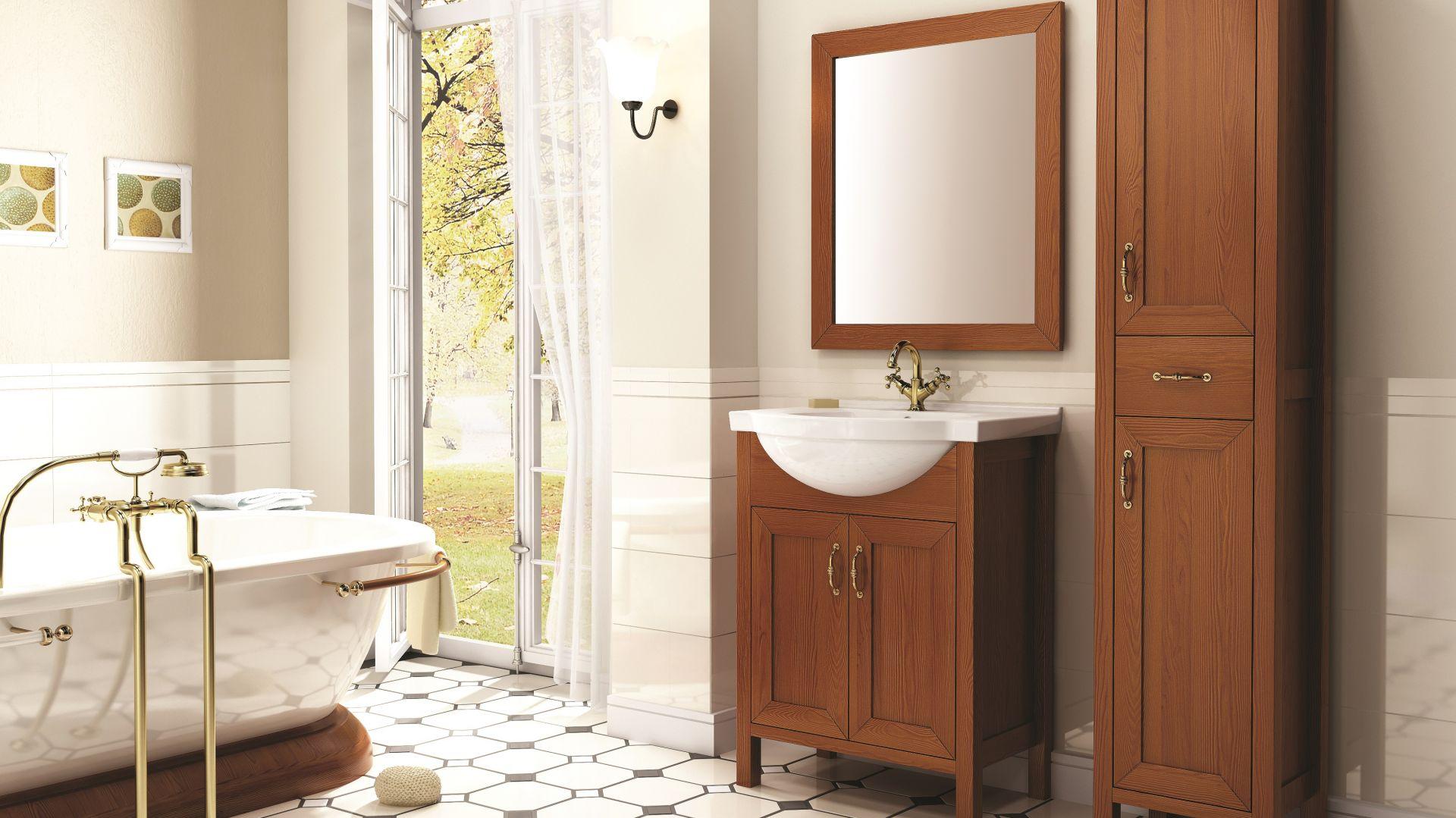 Łazienka w stylu klasycznym ze stylizowanymi meblami z kolekcji Santon firmy Elita. Fot. Elita