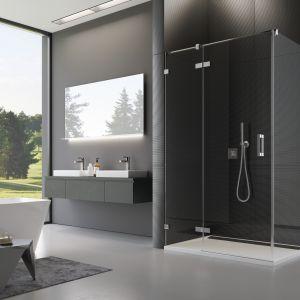 Nowoczesne kabiny prysznicowe są niemal niewidoczne za sprawą swojej lekkiej konstrukcji. Na zdjęciu model PU13+PURDT2 z serii kabin PUR o nowoczesnej, bezramowej konstrukcji. Fot. SanSwiss