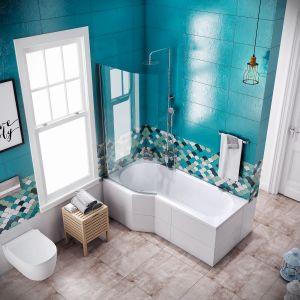 Parawan nawannowy i wanna z serii BeSpot firmy Excellent, wyprofilowane tak, aby zapewnić wszelkie wygody wanny i kabiny prysznicowej. Fot. Excellent