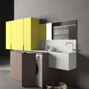 Drop – modułowy system meblowy, z którym stworzymy miejsce do prania, suszenia, prasowania czy przechowywania. Fot. Novello