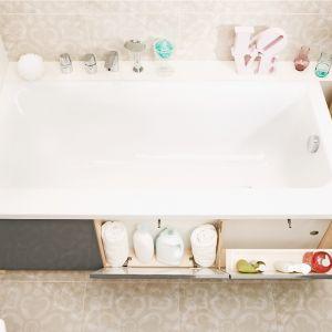 Smart - meblowy panel frontowy do wanny z serii Smart z funkcjonalnym schowkiem, w którym można przechowywać proszki i płyny do prania; 3 uchylne szafki z funkcją Push. Cena: 699 zł. Fot. Cersanit