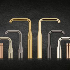 Przekrój dostępnych kolorów w serii baterii Essence firmy Grohe odzwierciedla różnorodność wykończeń armatury jaka nastała w 2017 roku. Fot. Grohe