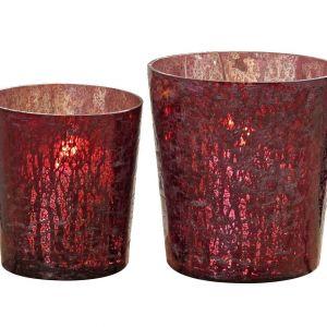 Komplet świeczników Liz w eleganckim, bordowym kolorze. Fot. Westwing.pl