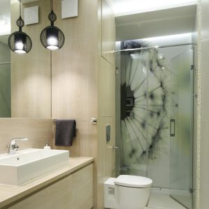 Ściana w strefie prysznica wykończona szkłem z laserowym nadrukiem przedstawiającym dmuchawca. Proj. Małgorzata Galewska. Fot. Bartosz Jarosz