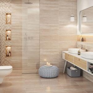 Płytki ceramiczne z kolekcji Marble Room marki Cersanit imitujące beżowy marmur. Fot. Cersanit