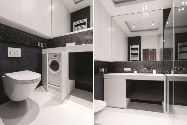 """W większości polskich domów miejscem na lokalizacje pralki jest łazienka. Jak jednak wkomponować w nią sprzęt AGD aby nie """"skradł"""" zbyt wiele miejsca i nie popsuł aranżacji?"""