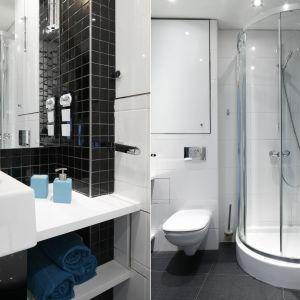 Bardzo mała łazienka z pralką. Proj. Marta Kilan. Fot. Bartosz Jarosz