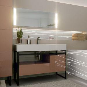 Meble łazienkowe z akrylowymi frontami na wysoki połysk Rauvisio. Fot. Rehau