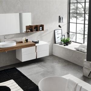 Meble łazienkowe z kolekcji Vector mają oryginalne, asymetryczne fronty. Fot. Ardeco