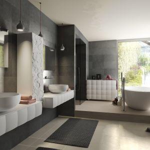Kolekcja mebli łazienkowych Linea Design - Bombata z frontami mebli o trójwymiarowej powierzchni, przypominającej pikowania. Fot. Bianchini & Capponi
