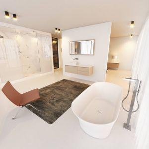 Jasny salon kąpielowy z wolno stojącą wanną Barca z oferty Riho Limited. Fot. Riho