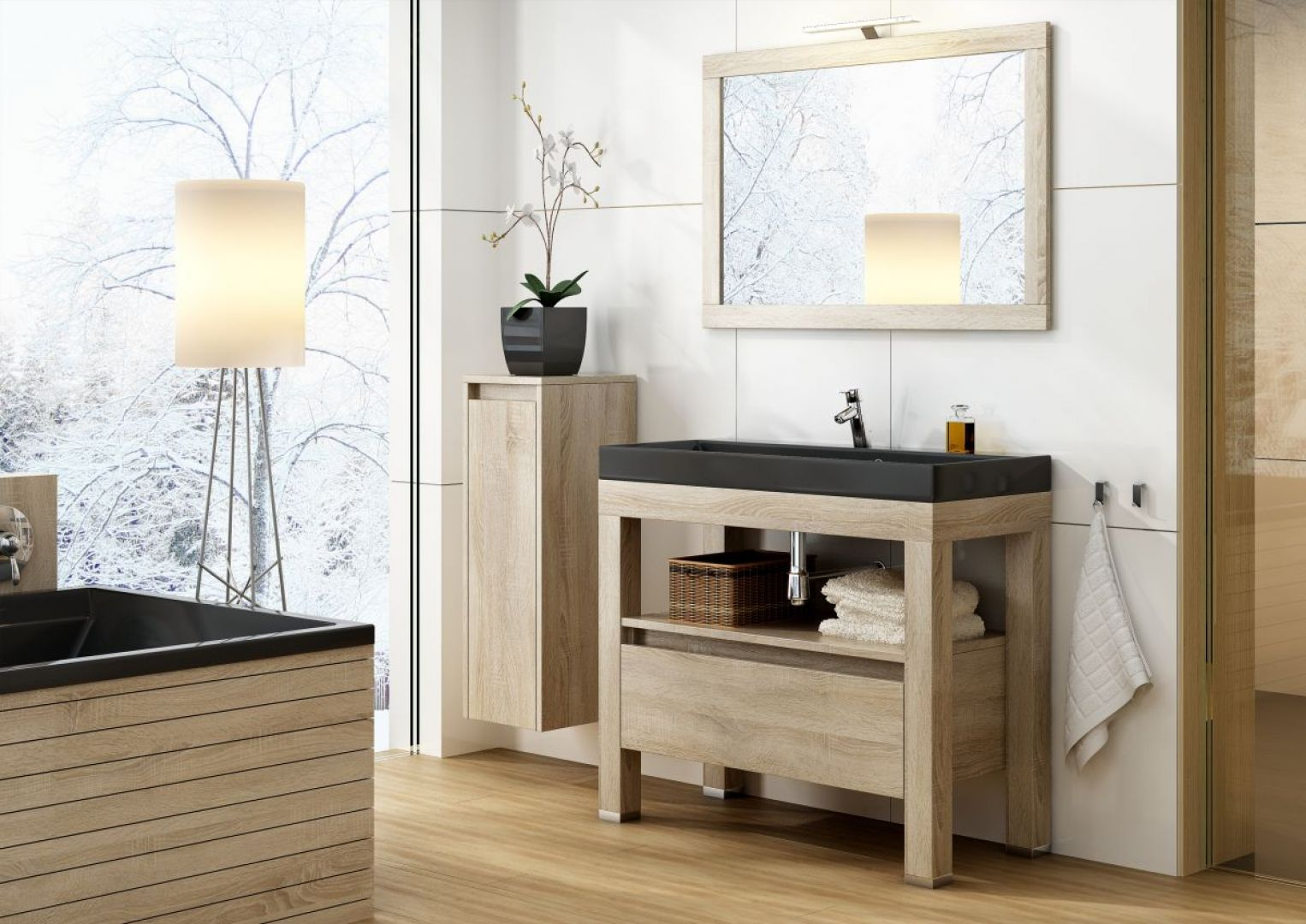 Meble łazienkowe kolorach drewna z kolekcji Ambiente. Fot. Devo