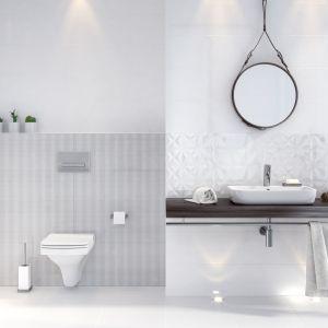 Aranżacja białej łazienki z płytkami z kolekcji Magic White. Fot. Opoczno