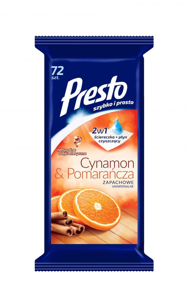 Uniwersalne ściereczki nasączone środkiem czyszczącym, o pięknym zapachu cynamonu z pomarańczą. Fot. Presto