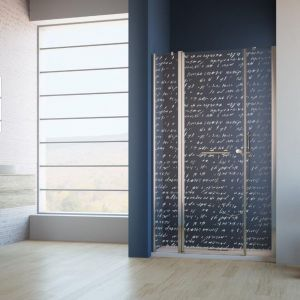 Drzwi wnękowe Eos 2 DWJS z laserowym ornamentem firmy Radaway. Fot. Radaway