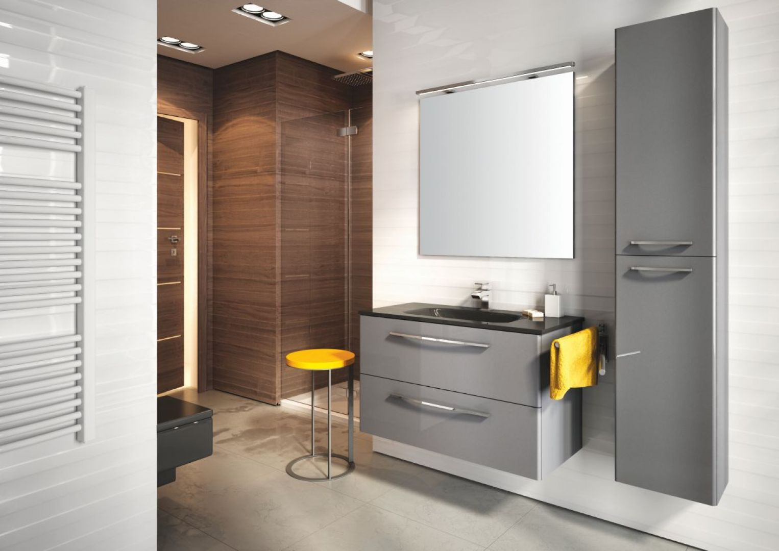 Meble łazienkowe na wysoki połysk z kolekcji Jump firmy Elita. Fot. Elita