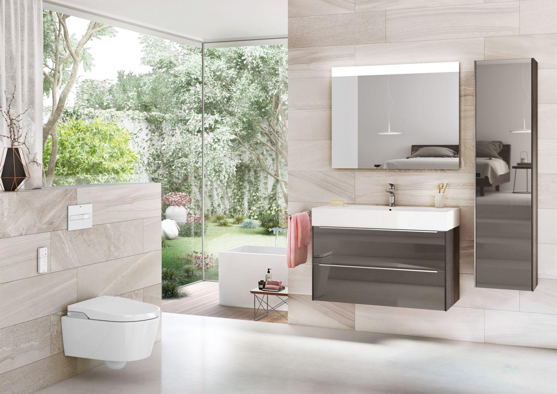 Meble łazienkowe na wysoki połysk z kolekcji Inspira firmy Roca. Fot. Roca