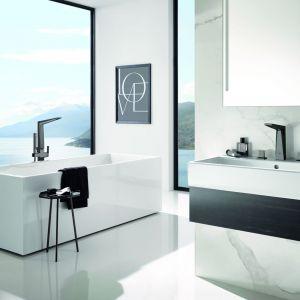 Baterie łazienkowe z serii Allure Brilliant marki Grohe w wykończeniu Hard Graphite. Fot. Grohe