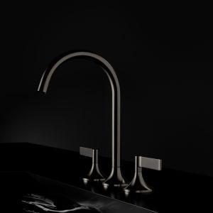 Bateria umywalkowa z serii Vaia marki Dornbracht w wykończeniu Dark Platinum Mat. Fot. Dornbracht