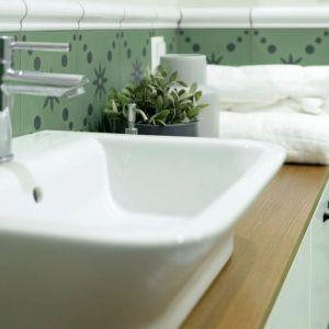 Do projektu łazienki wybrano piękne marokańskie, zielone płytki zwieńczone ceramicznymi wałkami. Fot. Jacek Gadaj