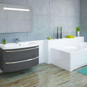 Szara szafka podumywalkowa z serii mebli łazienkowych Dynamic F57 firmy Devo. Fot. Devo
