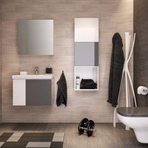 Meble łazienkowe z szarymi frontami z kolekcji Colour firmy Cersanit. Fot. Cersanit